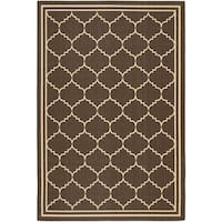 Safavieh Courtyard Transitional Chocolate/ Cream Indoor/ Outdoor Rug - 4' x 5'7