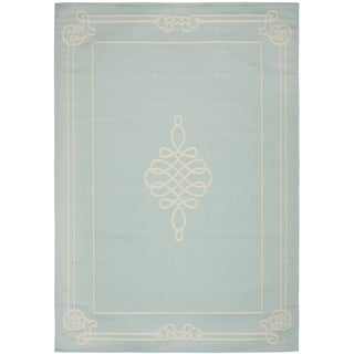 Safavieh Courtyard Classic Aqua/ Cream Indoor/ Outdoor Rug (2'7 x 5')