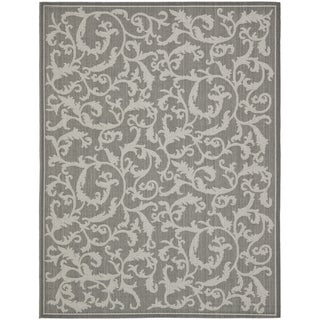 Safavieh Courtyard Scrolling Vines Anthracite/ Light Grey Indoor/ Outdoor Rug (9' x 12')