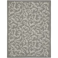 Safavieh Courtyard Scrolling Vines Anthracite/ Light Grey Indoor/ Outdoor Rug - 9' x 12'
