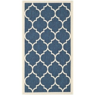 Safavieh Indoor/Outdoor Courtyard Navy/Beige Dhurrie Rug (2' x 3'7)
