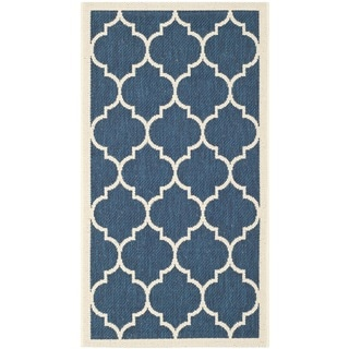 Safavieh Courtyard Moroccan Pattern Navy/ Beige Indoor/ Outdoor Rug (2' x 3'7)