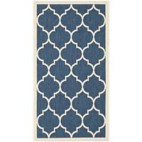 Safavieh Courtyard Moroccan Pattern Navy/ Beige Indoor/ Outdoor Rug - 2' x 3'7