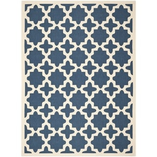 Geometric Safavieh Indoor/Outdoor Courtyard Navy/Beige Rug (9' x 12')