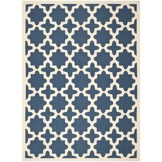 Safavieh Courtyard All-Weather Navy/ Beige Indoor/ Outdoor Rug (9' x 12')