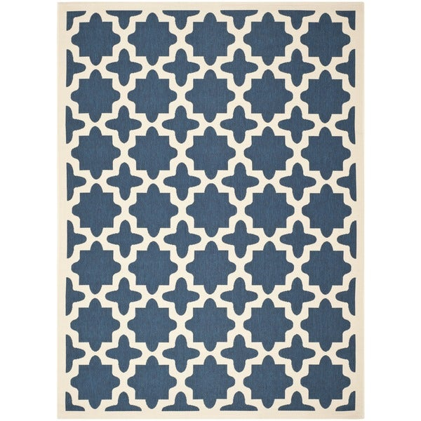 Safavieh Courtyard All-Weather Navy/ Beige Indoor/ Outdoor Rug - 9' x 12'