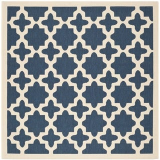 Safavieh Patterned Indoor/Outdoor Courtyard Navy/Beige Rug (6'7 Square)