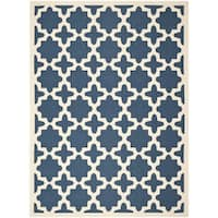 Safavieh Courtyard All-Weather Navy/ Beige Indoor/ Outdoor Rug - 8' x 11'