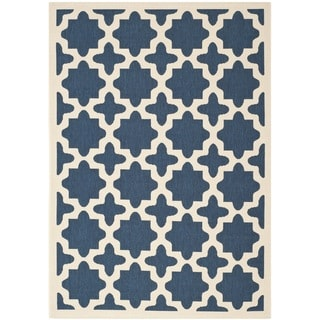 Safavieh Courtyard All-Weather Navy/ Beige Indoor/ Outdoor Rug (6'7 x 9'6)