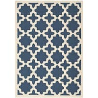 "Safavieh Courtyard All-Weather Navy/ Beige Indoor/ Outdoor Rug - 6'7"" x 9'6"""