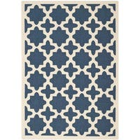Safavieh Courtyard All-Weather Navy/ Beige Indoor/ Outdoor Rug (5'3 x 7'7) - 5'3 x 7'7