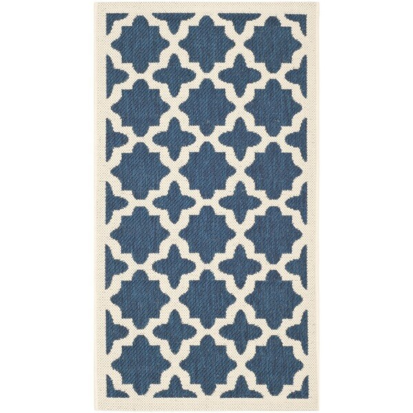 Safavieh Courtyard All-Weather Navy/ Beige Indoor/ Outdoor Rug (2' x 3'7)