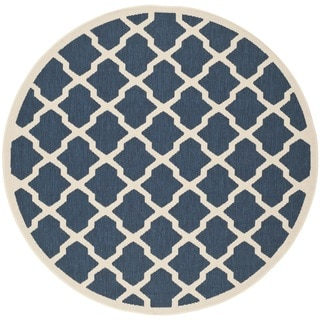 Safavieh Courtyard Navy/Beige Indoo/Outdoor Crisscross-Patterned Rug (6'7 Round)