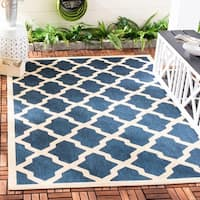 Safavieh Courtyard Moroccan Trellis Navy/ Beige Indoor/ Outdoor Rug - 9' x 12'
