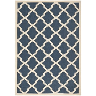 Safavieh Courtyard Moroccan Trellis Navy/ Beige Indoor/ Outdoor Rug (5'3 x 7'7)