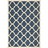 Safavieh Courtyard Moroccan Trellis Navy/ Beige Indoor/ Outdoor Rug (6'7 x 9'6) - 6'7 x 9'6