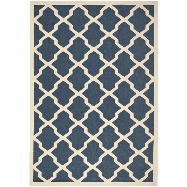 Safavieh Courtyard Moroccan Trellis Navy/ Beige Indoor/ Outdoor Rug (4' x 5'7)