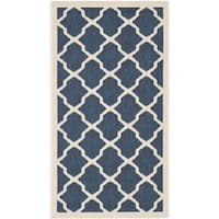 "Safavieh Courtyard Moroccan Trellis Navy/ Beige Indoor/ Outdoor Rug - 2'7"" x 5'"