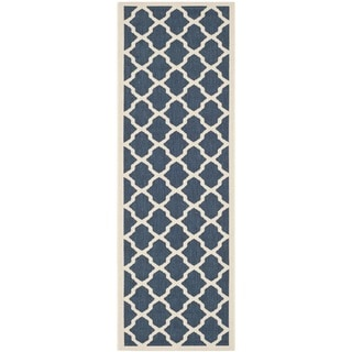 Safavieh Indoor/Outdoor Dhurrie-Style Courtyard Navy/Beige Rug (2'3 x 6'7)