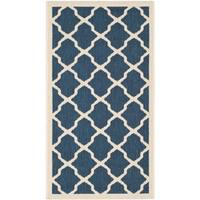 Safavieh Courtyard Moroccan Trellis Navy/ Beige Indoor/ Outdoor Rug - 2' x 3'-7""