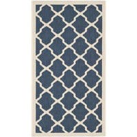 Safavieh Courtyard Moroccan Trellis Navy/ Beige Indoor/ Outdoor Rug - 2' x 3'7