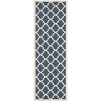 Safavieh Courtyard Moroccan Trellis Navy/ Beige Indoor/ Outdoor Rug (2'3 x 10')