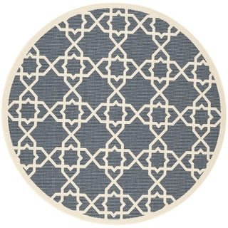 "Safavieh Indoor/Outdoor Courtyard Navy/Beige Rug with Clean Edge (5'3"" Round)"