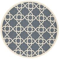 Safavieh Courtyard Geometric Trellis Navy/ Beige Indoor/ Outdoor Rug - 5'3 round