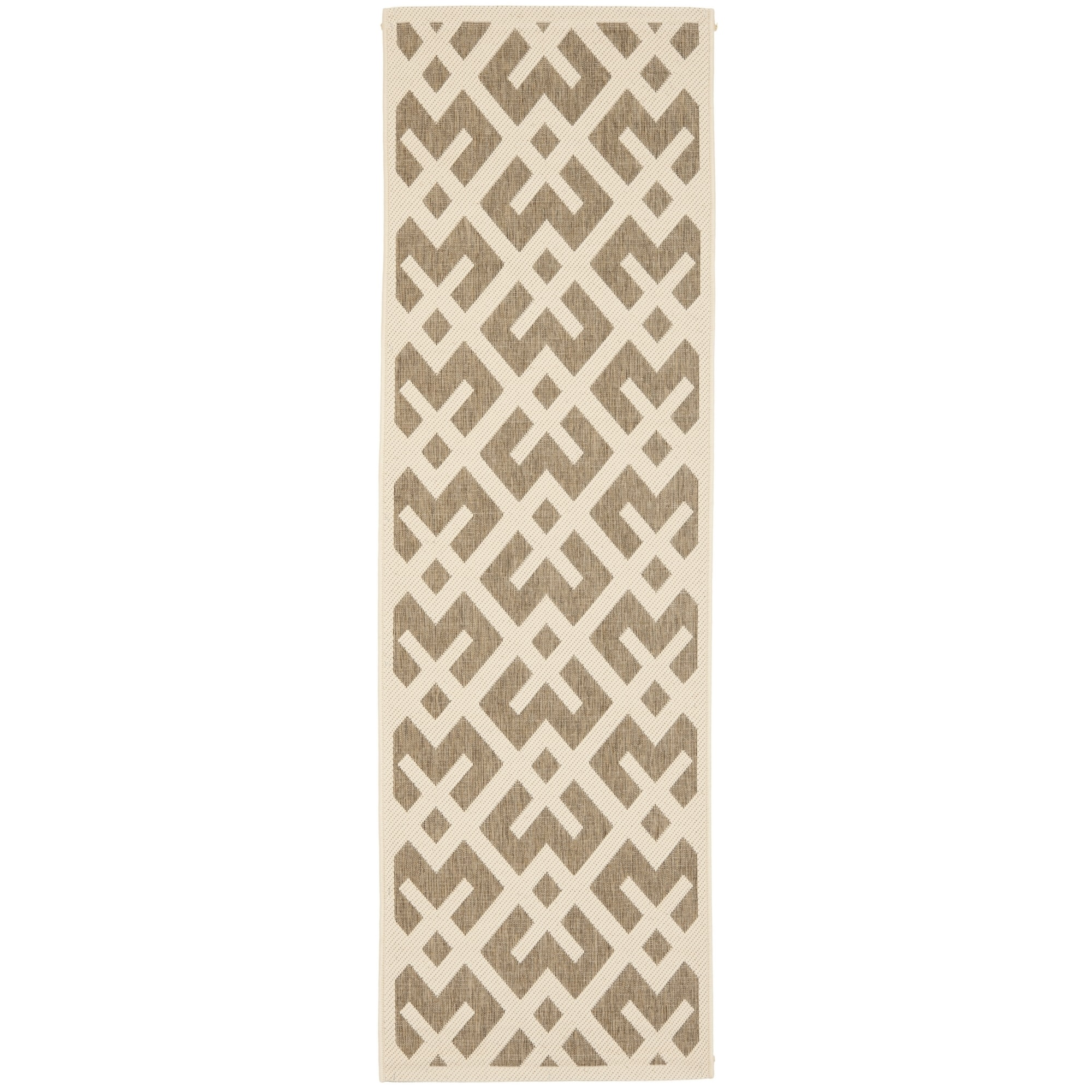 Safavieh Indoor/ Outdoor Courtyard Brown/ Bone Rug (24 X 12)
