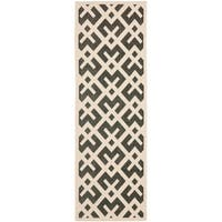 "Safavieh Courtyard Contemporary Black/ Beige Indoor/ Outdoor Runner Rug - 2'3"" x 8'"