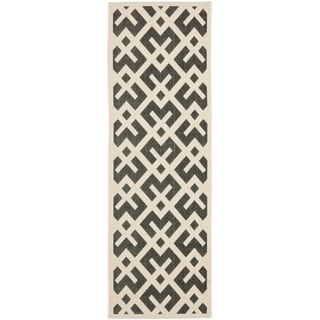 "Safavieh Courtyard Contemporary Black/ Beige Indoor/ Outdoor Rug (2'4"" x 14')"