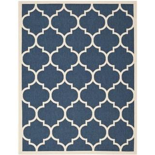 Safavieh Courtyard Moroccan Pattern Navy/ Beige Indoor/ Outdoor Rug (8' x 11')