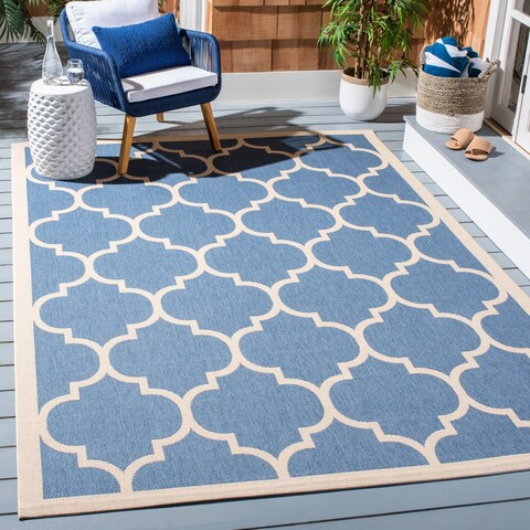 Safavieh Courtyard Lagoon Navy / Beige Indoor/ Outdoor Rug - 8' x 11'