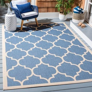Safavieh Courtyard Moroccan Pattern Navy Beige Indoor Outdoor Rug 8 X 11