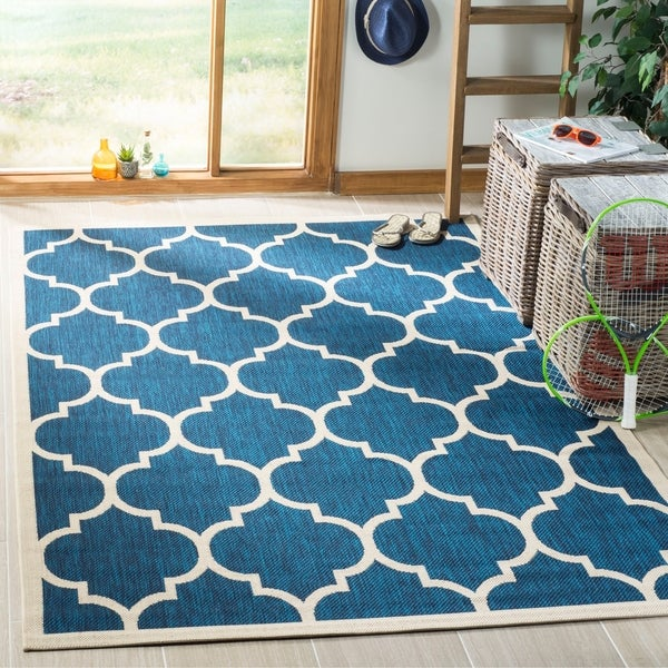 Shop Safavieh Courtyard Moroccan Pattern Navy Beige Indoor Outdoor