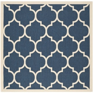 Safavieh Courtyard Moroccan Pattern Navy/ Beige Indoor/ Outdoor Rug (6'7 Square)