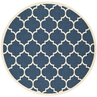 "Soft Safavieh Indoor/Outdoor Courtyard Navy/Beige Rug (5'3"" Round)"