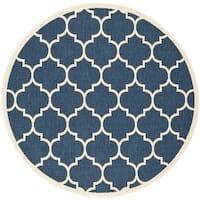 "Safavieh Courtyard Moroccan Pattern Navy/ Beige Indoor/ Outdoor Rug - 6'7"" x 6'7"" round"
