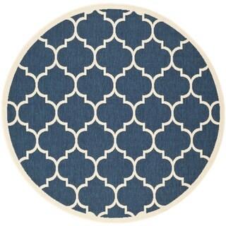 Safavieh Courtyard Moroccan Pattern Navy/ Beige Indoor/ Outdoor Rug - 6'7 Round