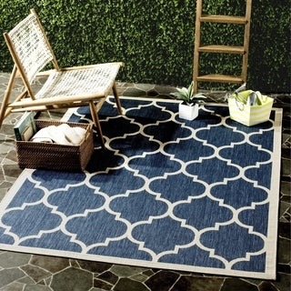 Safavieh Courtyard Moroccan Pattern Navy/ Beige Indoor/ Outdoor Rug (6'7 x 9'6)