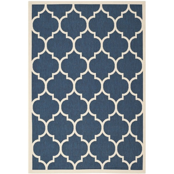 Dhurrie Style Safavieh Indoor Outdoor Courtyard Navy Beige