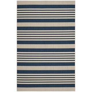 Safavieh Courtyard Stripe Navy/ Beige Indoor/ Outdoor Rug (6\'7 x 9 ...