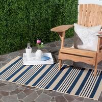 Safavieh Courtyard Stripe Navy/ Beige Indoor/ Outdoor Rug - 4' x 5'7