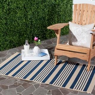 Safavieh Courtyard Stripe Navy/ Beige Indoor/ Outdoor Rug (4' x 5'7)