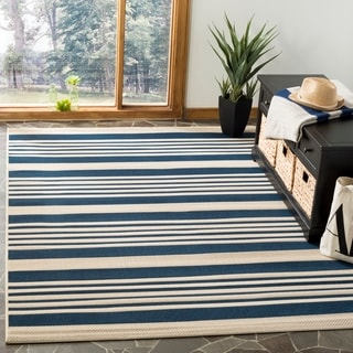 "Safavieh Courtyard Stripe Navy/ Beige Indoor/ Outdoor Rug (5'3"" x 7'7"")"