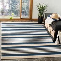 Safavieh Courtyard Stripe Navy/ Beige Indoor/ Outdoor Rug - 5'3 x 7'7