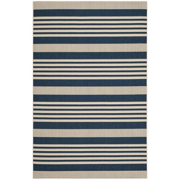 Safavieh Courtyard Stripe Navy/ Beige Indoor/ Outdoor Rug (5'3
