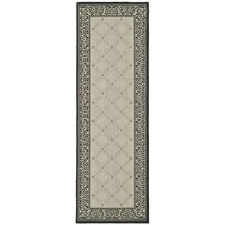 Safavieh Bay Sand/ Black Indoor/ Outdoor Rug (2'3 x 10')