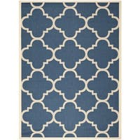 Safavieh Courtyard Quatrefoil Navy/ Beige Indoor/ Outdoor Rug - 9' x 12'