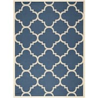 Safavieh Courtyard Quatrefoil Navy/ Beige Indoor/ Outdoor Rug - 6'7 x 9'6